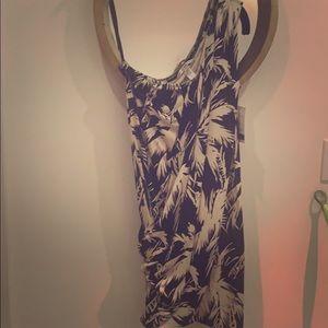 DVF one shoulder tropical print cocktail dress